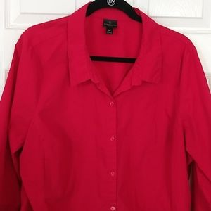 Worthington Button Front Dress Shirt Red